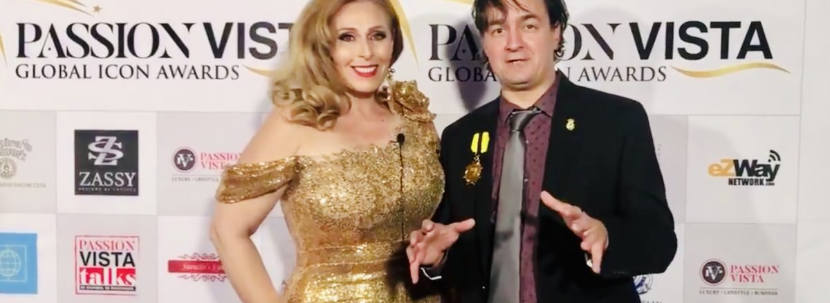 Violeta Martin and Bruce Porter Jr at Global Icon Awards